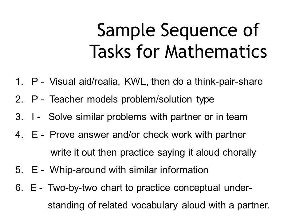 Sample Sequence of Tasks for Mathematics 1.