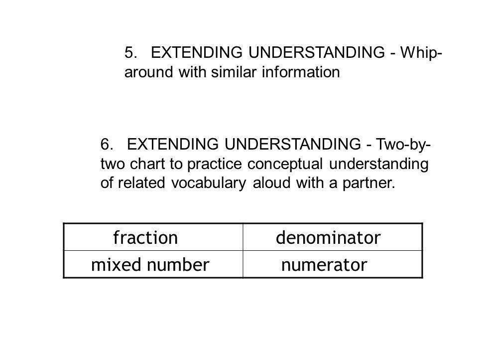 5.EXTENDING UNDERSTANDING - Whip- around with similar information 6.
