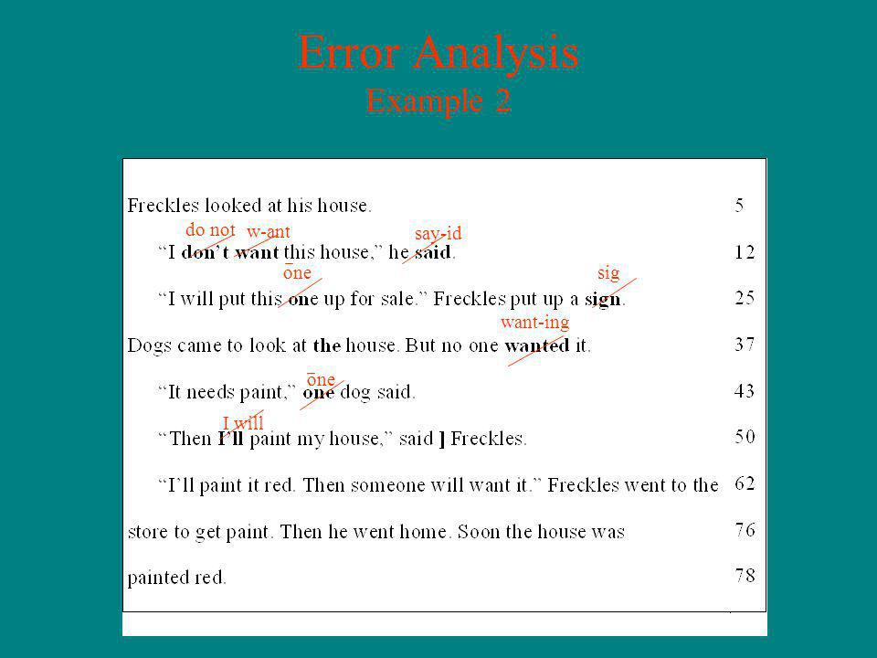 Error Analysis Example 2 do not w-ant say-id one sig want-ing one I will