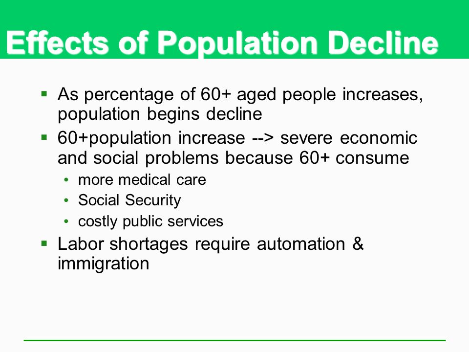 Effects of Population Decline As percentage of 60+ aged people increases, population begins decline 60+population increase --> severe economic and soc