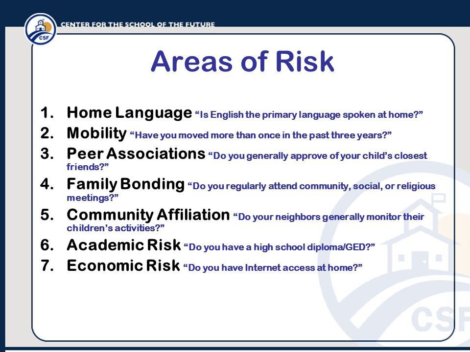 Areas of Risk 1.Home Language Is English the primary language spoken at home? 2.Mobility Have you moved more than once in the past three years? 3.Peer