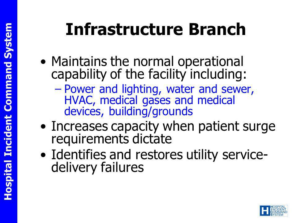 Hospital Incident Command System Infrastructure Branch Maintains the normal operational capability of the facility including: –Power and lighting, wat