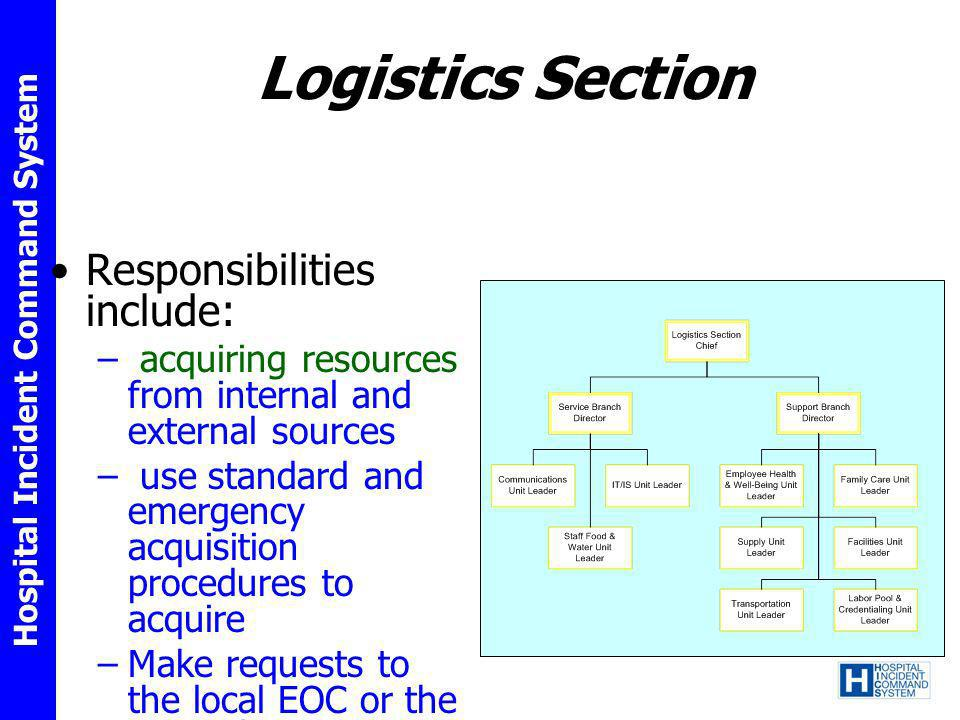 Hospital Incident Command System Logistics Section Responsibilities include: – acquiring resources from internal and external sources – use standard a