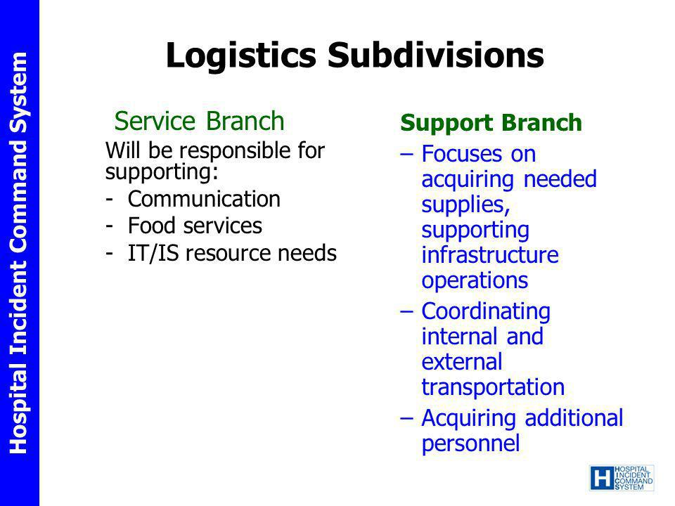 Logistics Subdivisions Service Branch Will be responsible for supporting: - Communication - Food services - IT/IS resource needs Support Branch –Focus