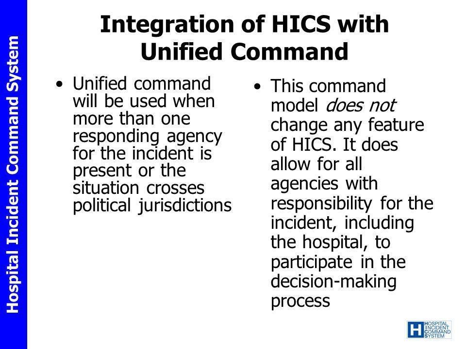 Hospital Incident Command System Integration of HICS with Unified Command Unified command will be used when more than one responding agency for the in