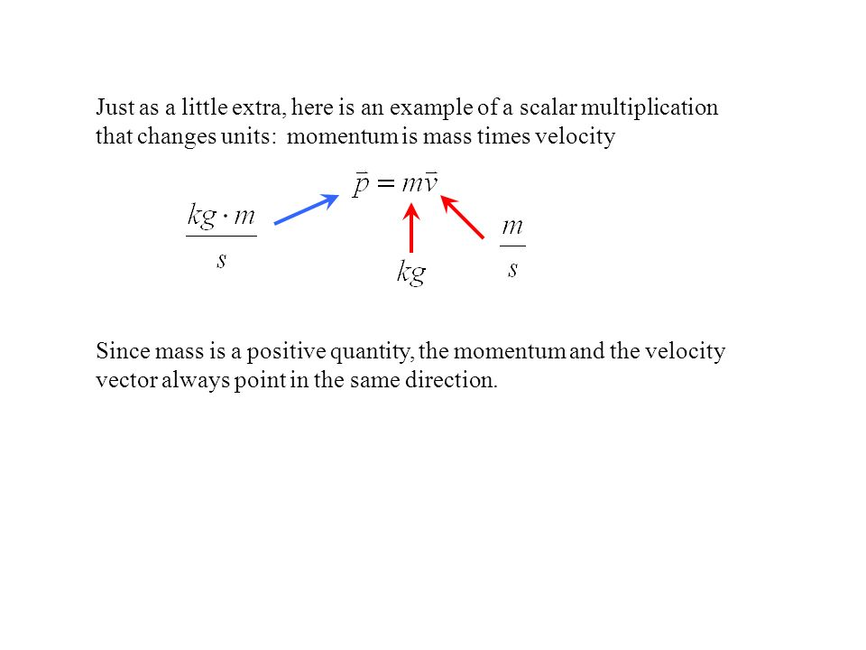 Just as a little extra, here is an example of a scalar multiplication that changes units: momentum is mass times velocity Since mass is a positive qua