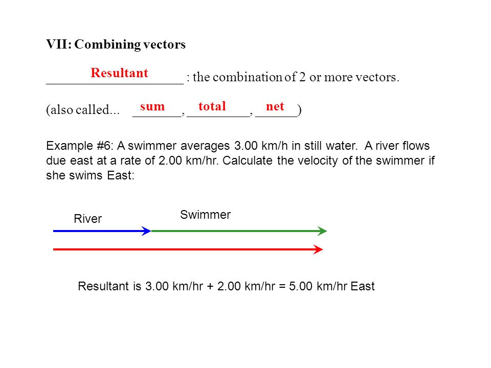 VII: Combining vectors ____________________ : the combination of 2 or more vectors. (also called... _______, _________, ______) Resultant sum total ne