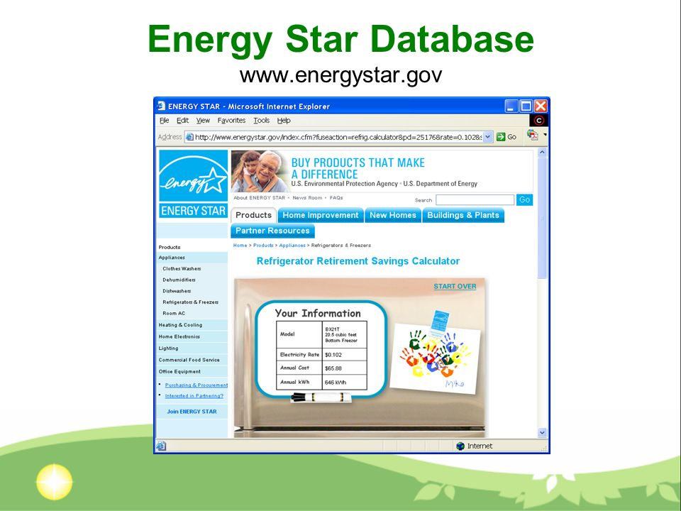 Energy Star Database www.energystar.gov