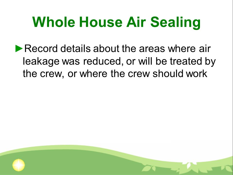Whole House Air Sealing Record details about the areas where air leakage was reduced, or will be treated by the crew, or where the crew should work