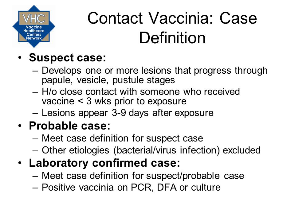 Contact Vaccinia: Case Definition Suspect case: –Develops one or more lesions that progress through papule, vesicle, pustule stages –H/o close contact