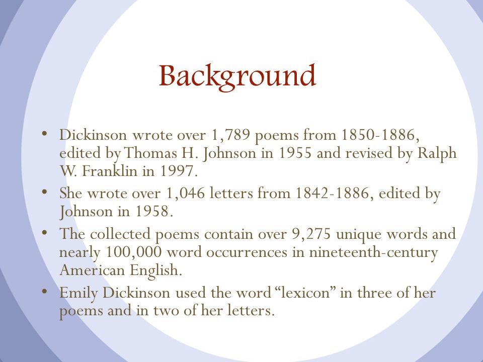 Background Dickinson wrote over 1,789 poems from 1850-1886, edited by Thomas H. Johnson in 1955 and revised by Ralph W. Franklin in 1997. She wrote ov