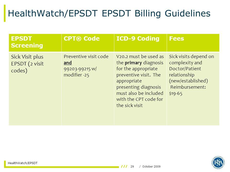 29/ October 2009 HealthWatch/EPSDT HealthWatch/EPSDT EPSDT Billing Guidelines EPSDT Screening CPT® CodeICD-9 CodingFees Sick Visit plus EPSDT (2 visit