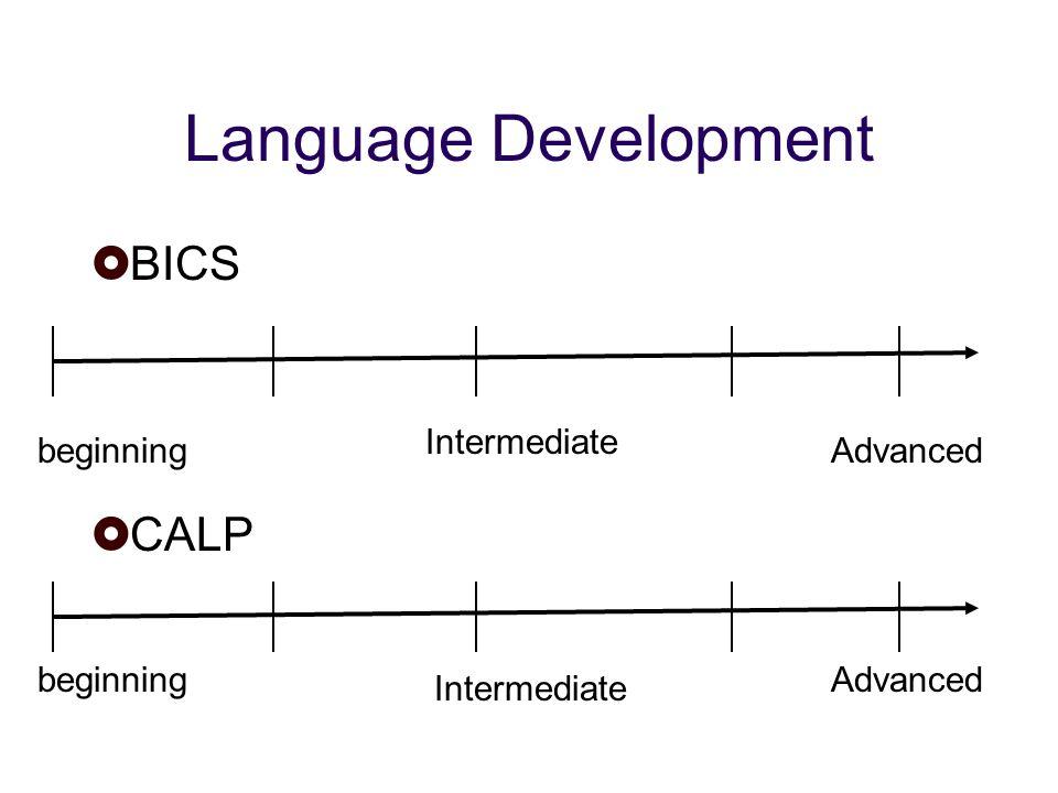 Language Development BICS CALP beginning Intermediate Advanced Intermediate beginning