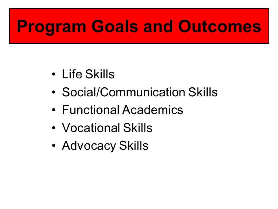 Program Goals and Outcomes Life Skills Social/Communication Skills Functional Academics Vocational Skills Advocacy Skills