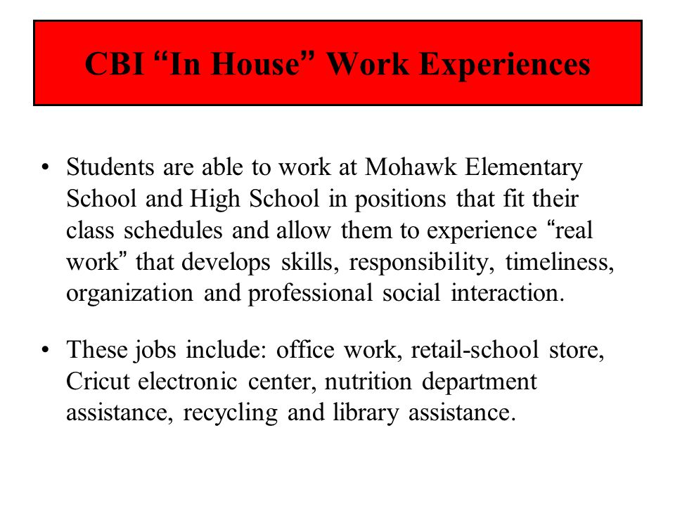 CBI In House Work Experiences Students are able to work at Mohawk Elementary School and High School in positions that fit their class schedules and al
