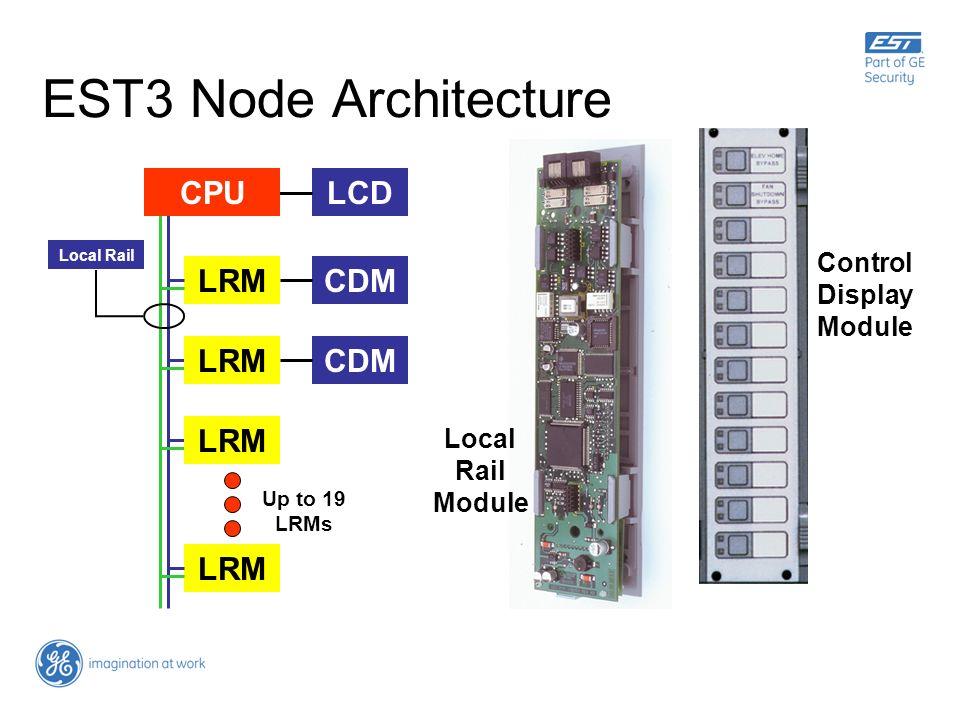 EST3 Node Architecture LCD LRMCDM LRM CDM Local Rail Up to 19 LRMs CPULRM Local Rail Module Control Display Module