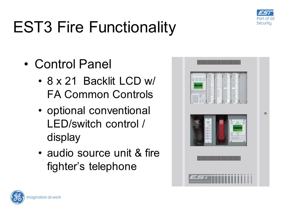 EST3 Fire Functionality Control Panel 8 x 21 Backlit LCD w/ FA Common Controls optional conventional LED/switch control / display audio source unit &