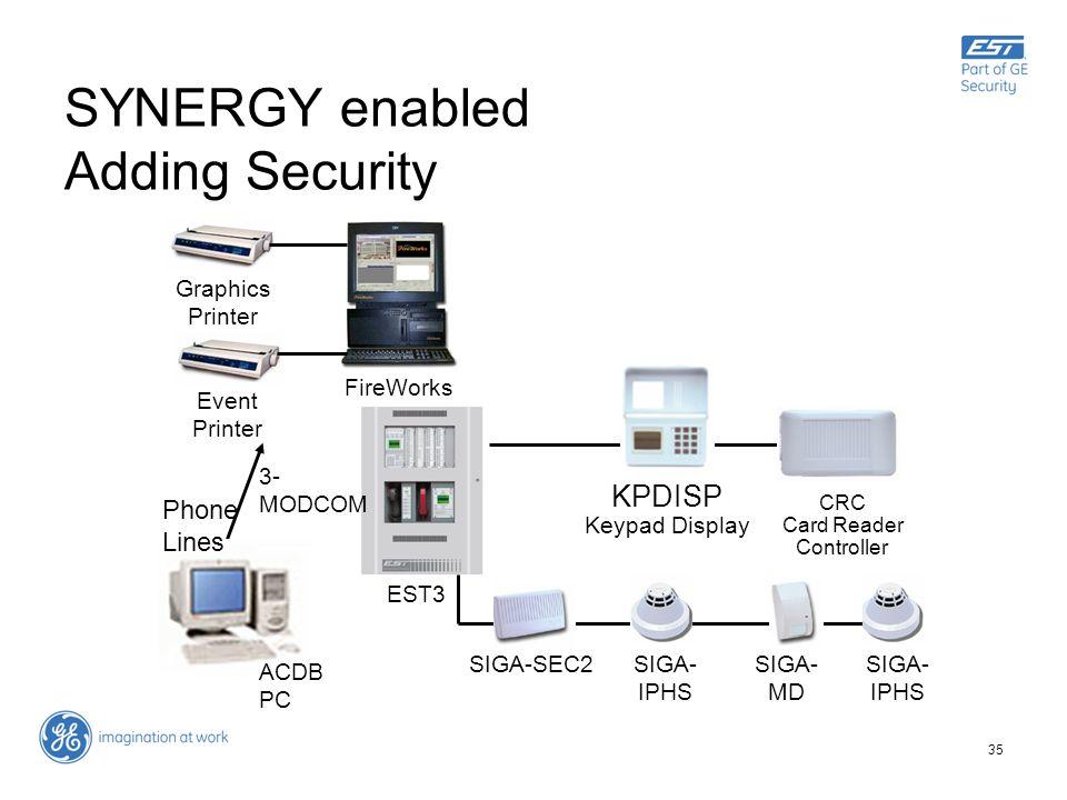 35 SYNERGY enabled Adding Security EST3 Graphics Printer Event Printer FireWorks Phone Lines ACDB PC 3- MODCOM CRC Card Reader Controller KPDISP Keypa