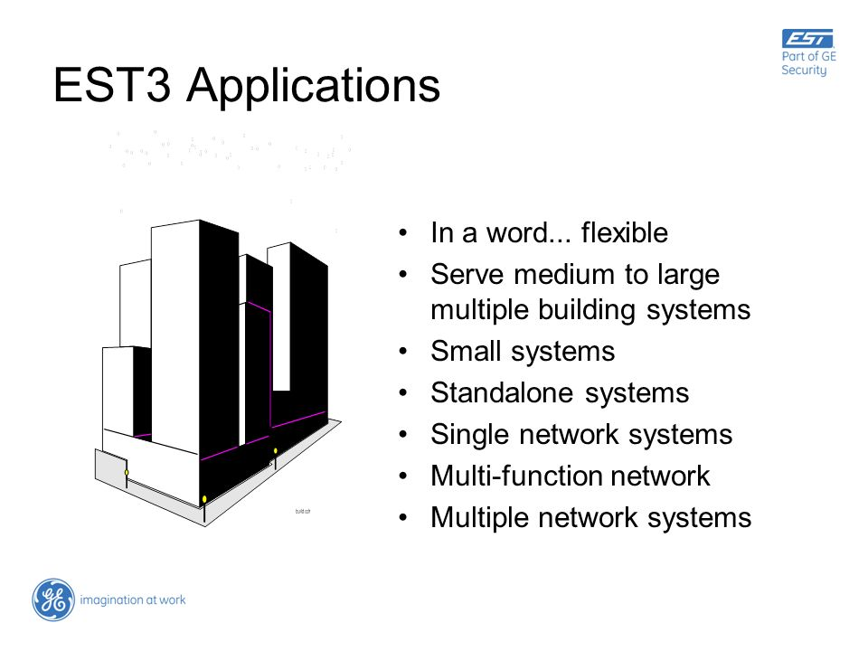EST3 Applications In a word... flexible Serve medium to large multiple building systems Small systems Standalone systems Single network systems Multi-