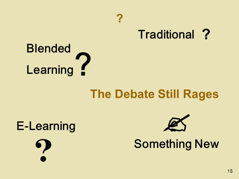 15 ? ? ? ? ? The Debate Still Rages Traditional Something New E-Learning Blended Learning