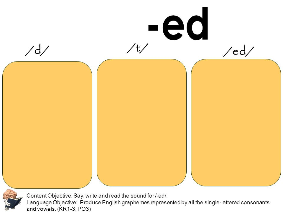 Content Objective: Say, write and read the sound for /-ed/. Language Objective: Produce English graphemes represented by all the single-lettered conso