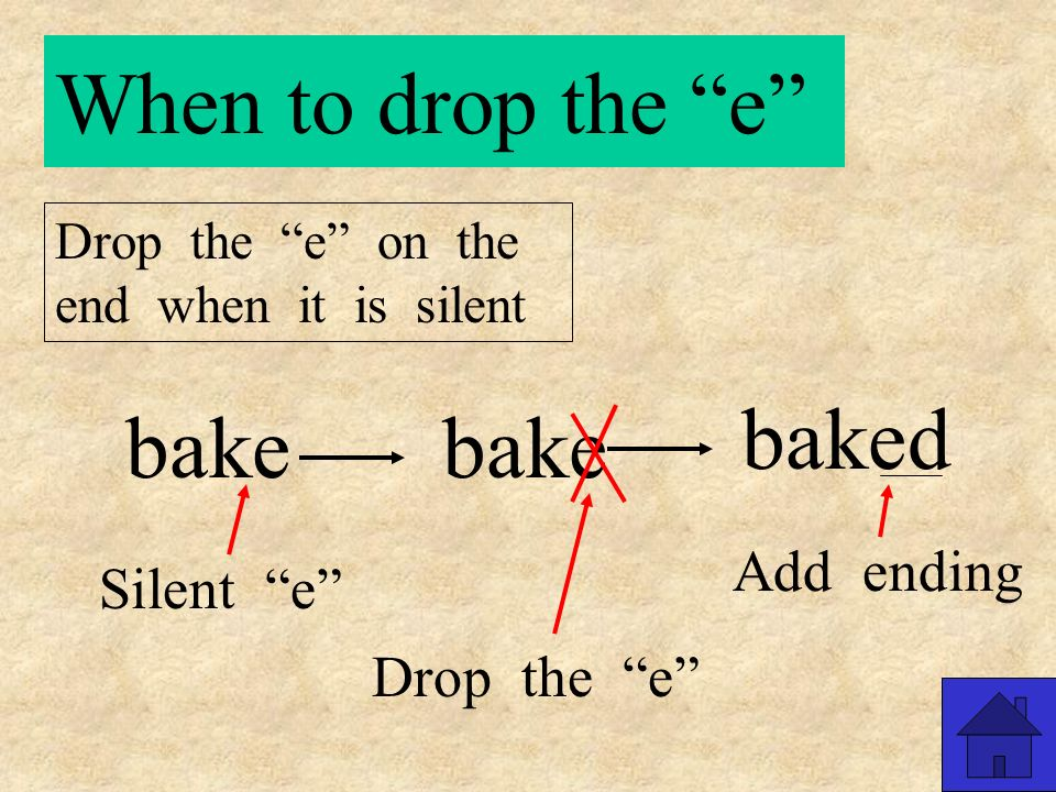 When to drop the e Drop the e on the end when it is silent nice nicer Silent e Drop the e Add ending