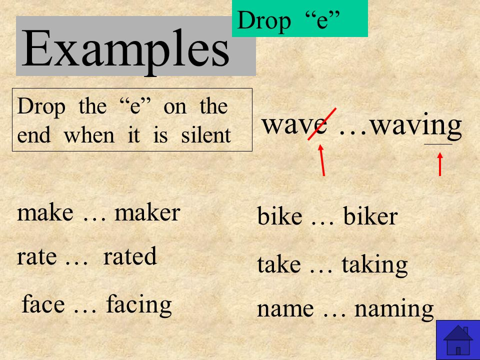 Examples meet … meeting rain … raining sail … sailed eat … eaten clean … cleaner keep … keeper neat Just add Just add the ending when there are two letters after the short vowel or when there is a long vowel sound …neater