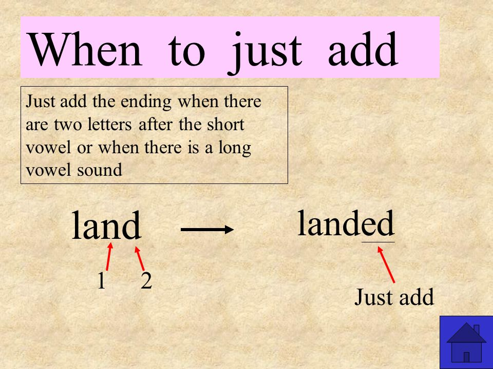 When to just add Just add the ending when there are two letters after the short vowel or when there is a long vowel sound walk 1 2 walking Just add