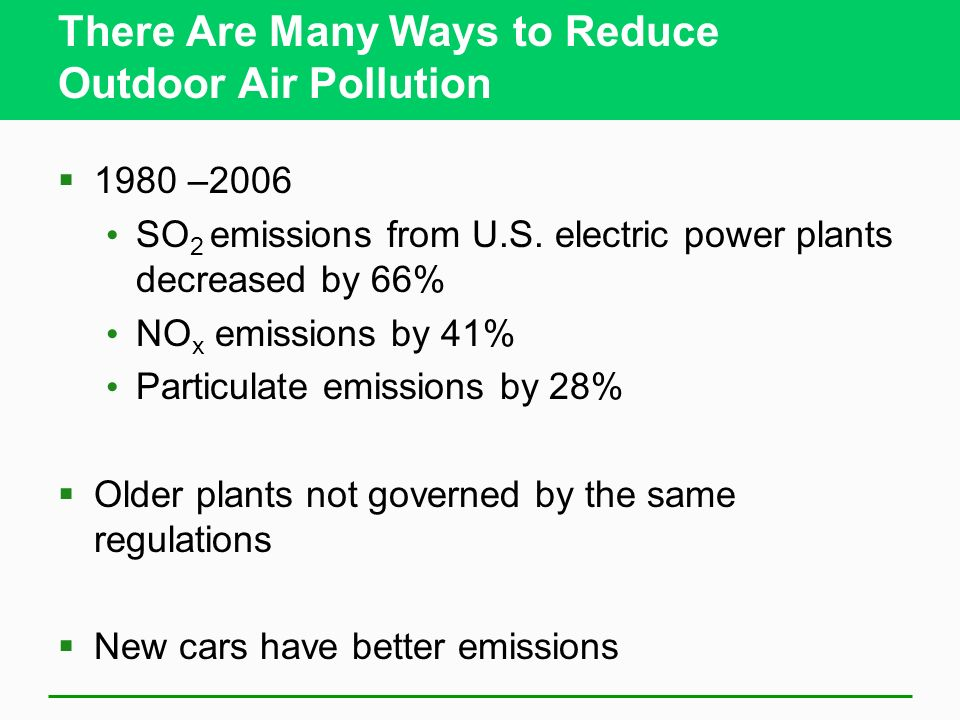 We Can Use the Marketplace to Reduce Outdoor Air Pollution Emission trading or cap-and-trade program Mixed reactions to program SO 2 emissions down si