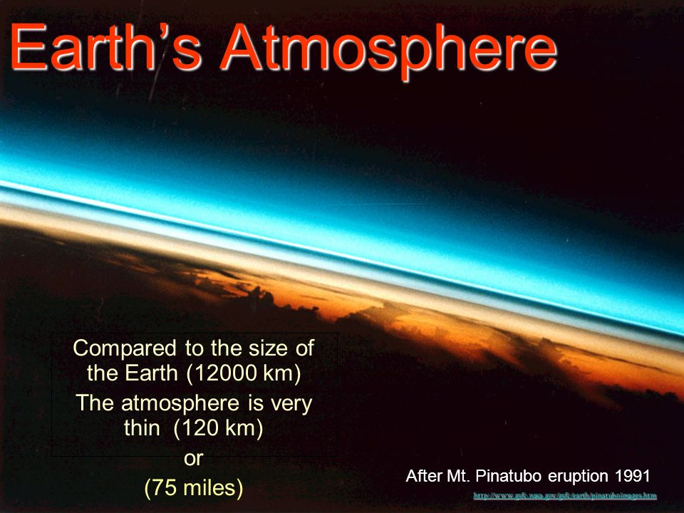 6 Earths Atmosphere Compared to the size of the Earth (12000 km) The atmosphere is very thin (120 km) or (75 miles) http://www.gsfc.nasa.gov/gsfc/earth/pinatuboimages.htm After Mt.