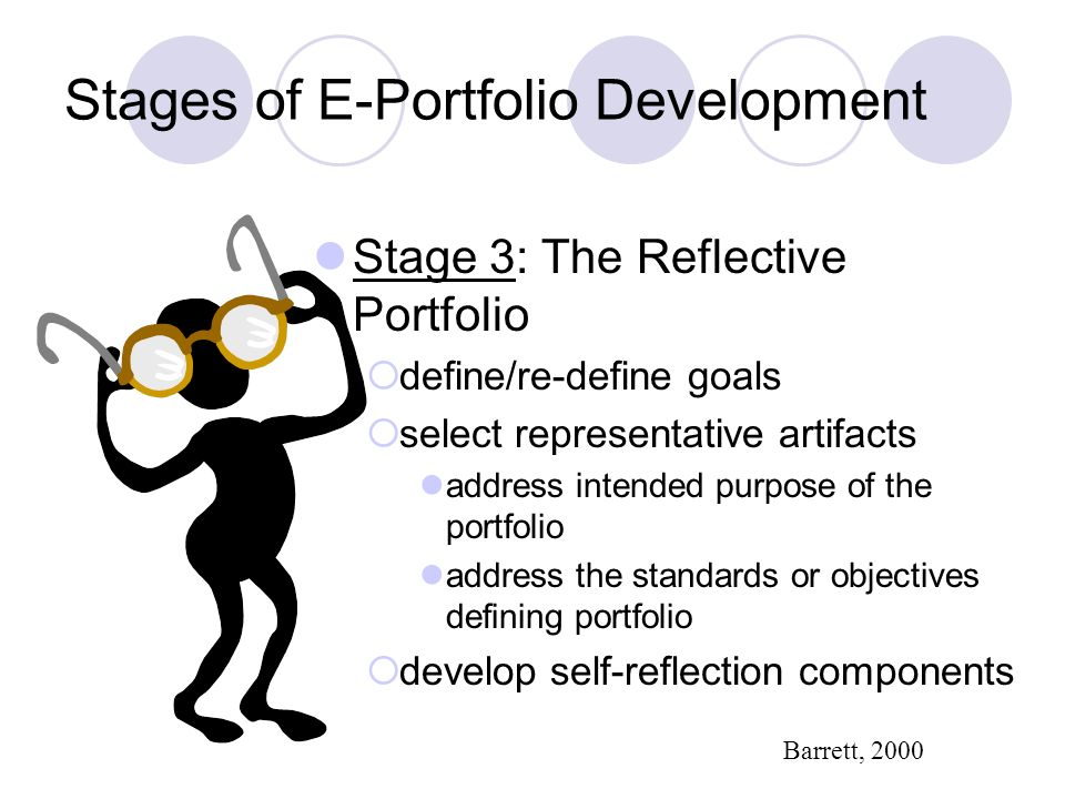 Stages of E-Portfolio Development Stage 3: The Reflective Portfolio define/re-define goals select representative artifacts address intended purpose of the portfolio address the standards or objectives defining portfolio develop self-reflection components Barrett, 2000