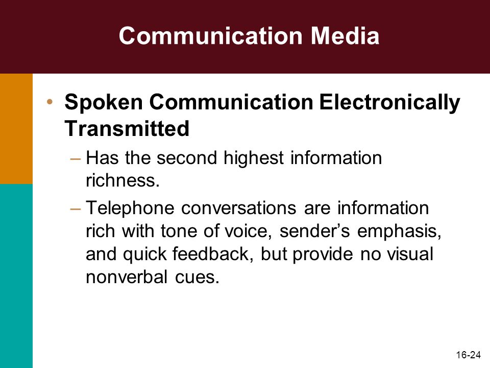 16-24 Communication Media Spoken Communication Electronically Transmitted –Has the second highest information richness. –Telephone conversations are i
