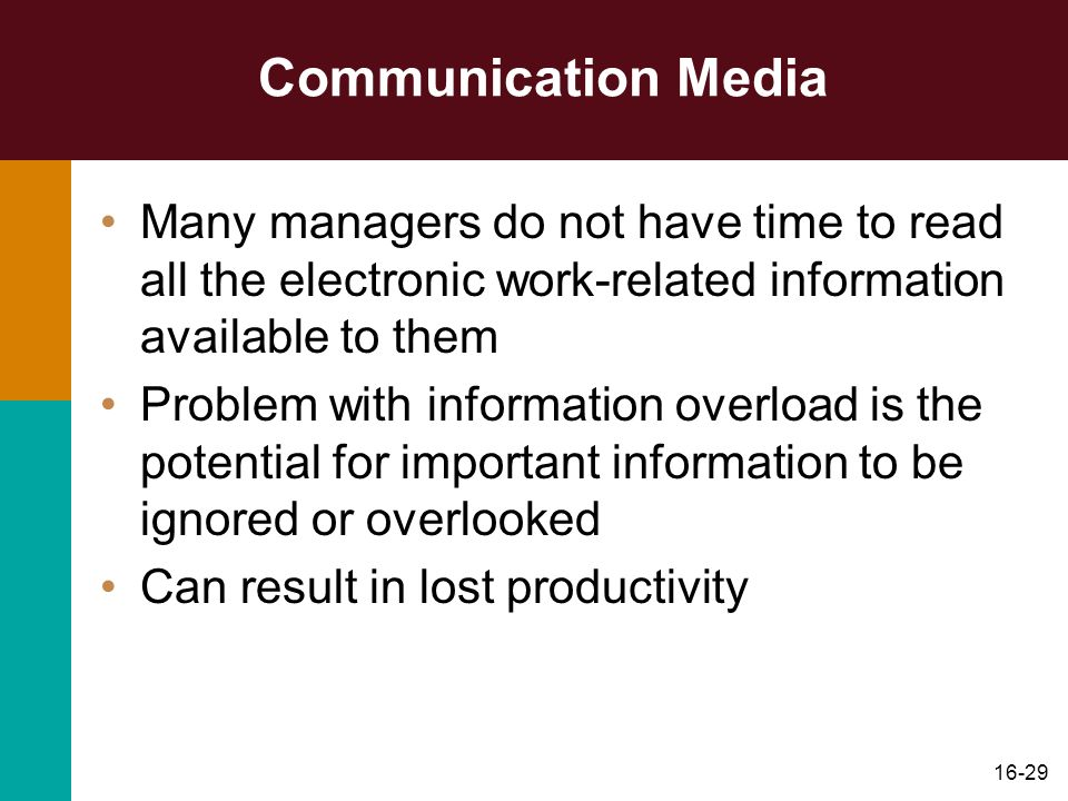 16-29 Communication Media Many managers do not have time to read all the electronic work-related information available to them Problem with informatio