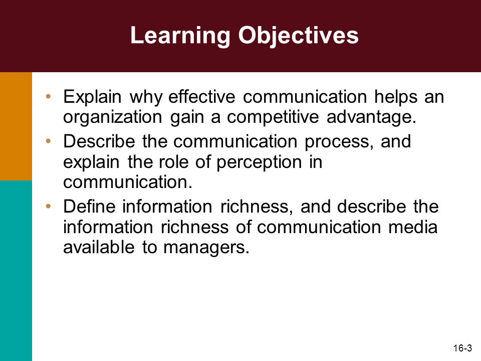 16-3 Learning Objectives Explain why effective communication helps an organization gain a competitive advantage. Describe the communication process, a