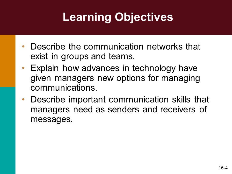 16-35 Organization Communication Networks Organization Chart –Horizontal communications flow between employees of the same level.