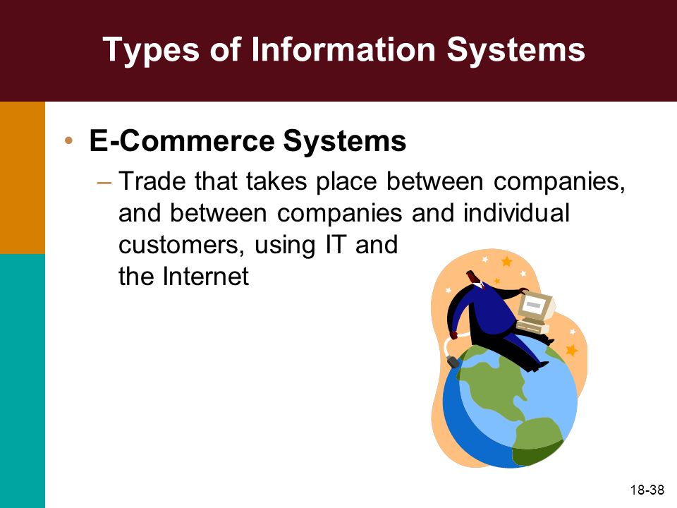 18-38 Types of Information Systems E-Commerce Systems –Trade that takes place between companies, and between companies and individual customers, using