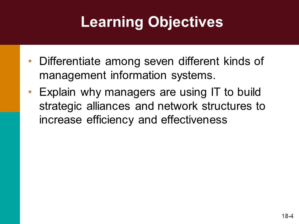 18-4 Learning Objectives Differentiate among seven different kinds of management information systems. Explain why managers are using IT to build strat