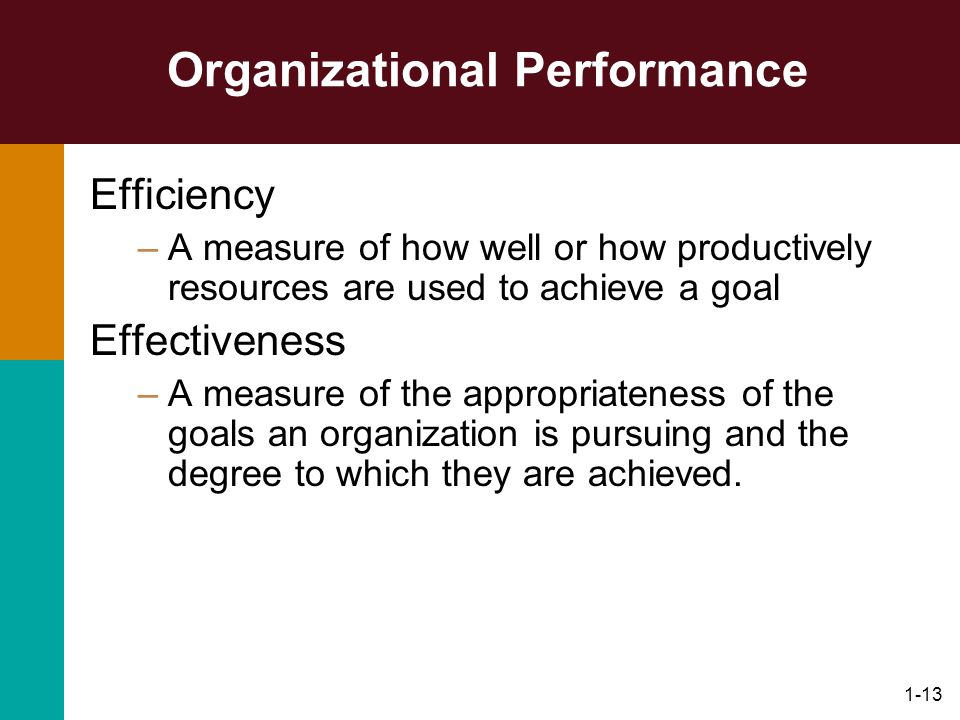1-13 Organizational Performance Efficiency –A measure of how well or how productively resources are used to achieve a goal Effectiveness –A measure of