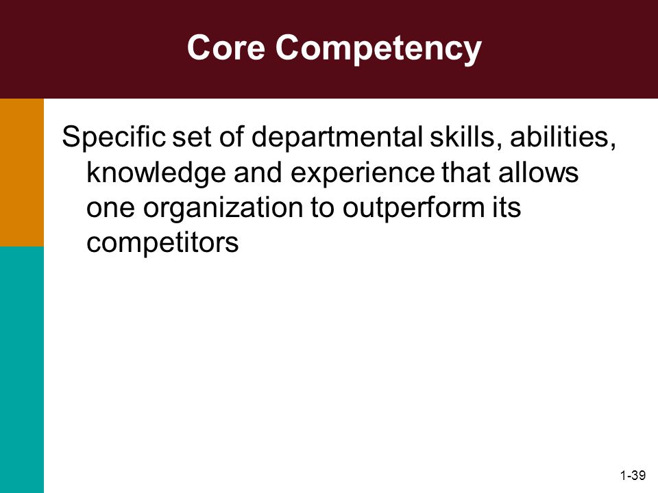1-39 Core Competency Specific set of departmental skills, abilities, knowledge and experience that allows one organization to outperform its competito