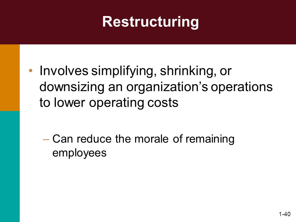 1-40 Restructuring Involves simplifying, shrinking, or downsizing an organizations operations to lower operating costs –Can reduce the morale of remai