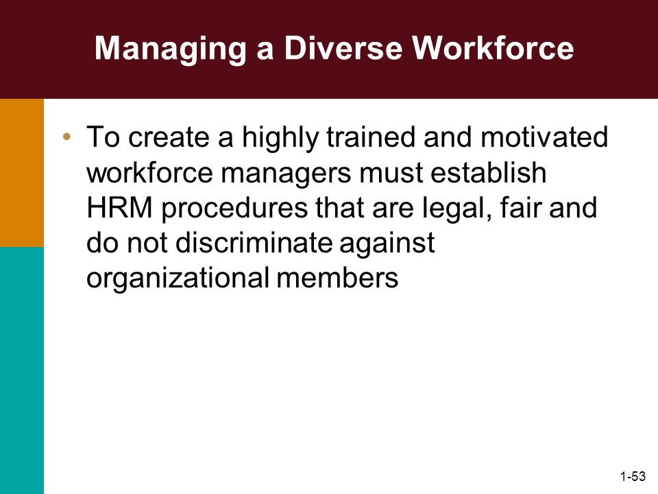 1-53 Managing a Diverse Workforce To create a highly trained and motivated workforce managers must establish HRM procedures that are legal, fair and d