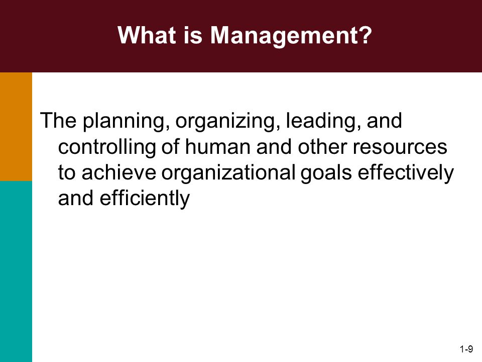 1-9 What is Management? The planning, organizing, leading, and controlling of human and other resources to achieve organizational goals effectively an