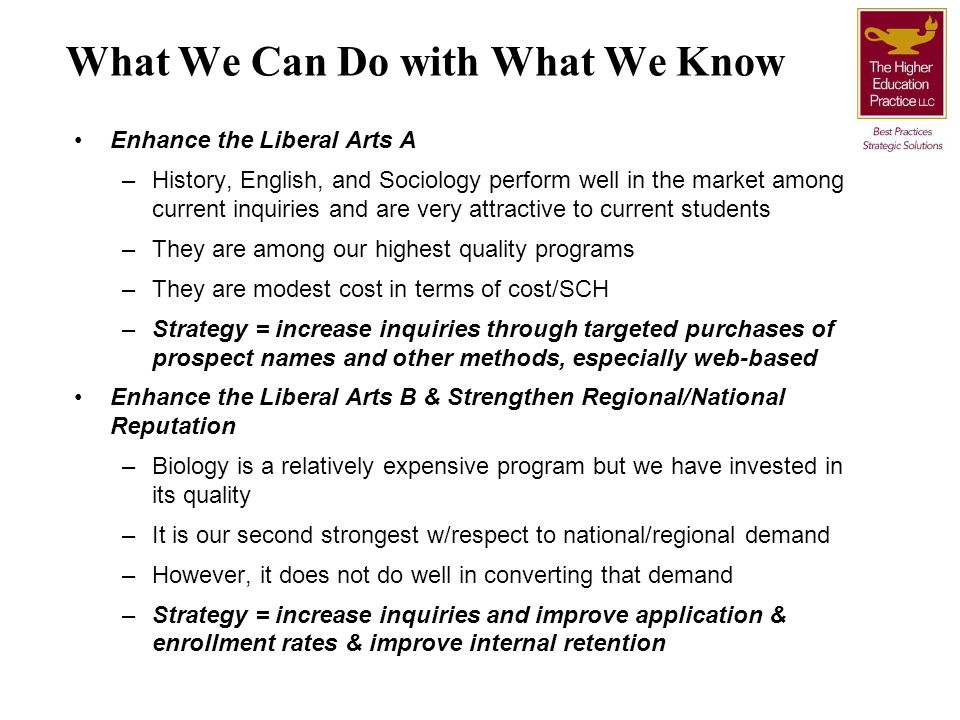 What We Can Do with What We Know Enhance the Liberal Arts A –History, English, and Sociology perform well in the market among current inquiries and ar