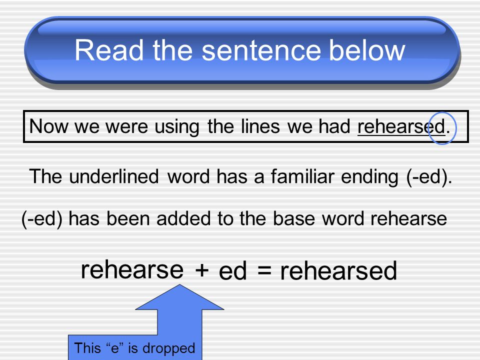 Read the sentence below Now we were using the lines we had rehearsed. The underlined word has a familiar ending (-ed). (-ed) has been added to the bas