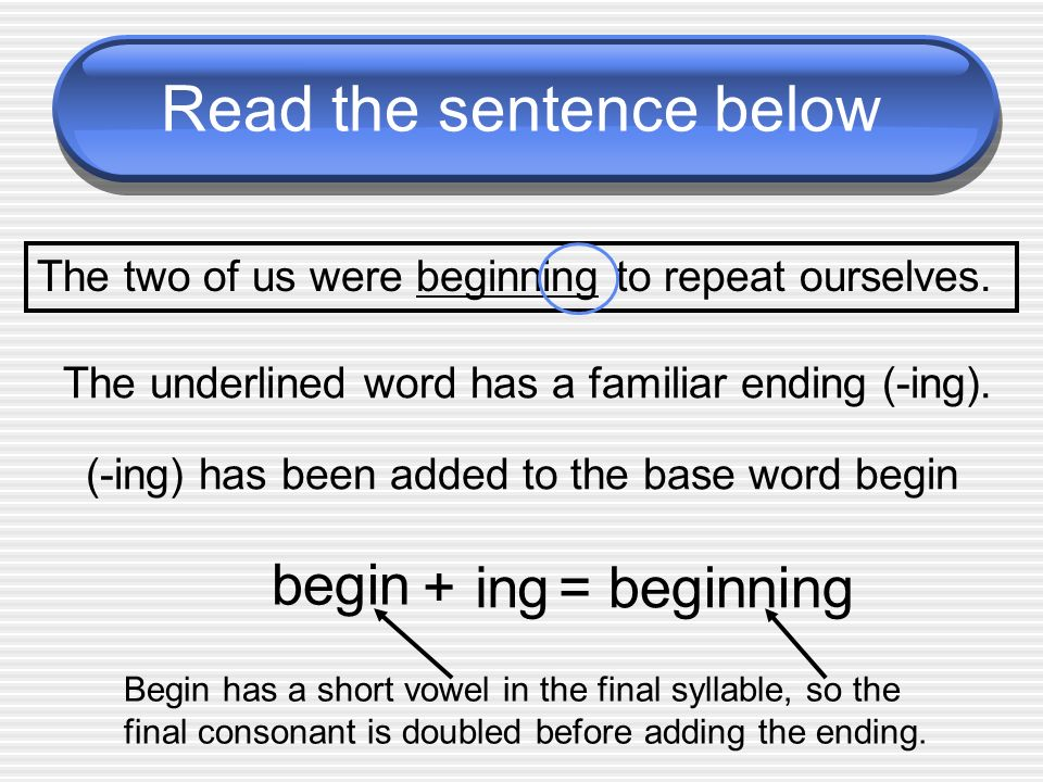 Read the sentence below The two of us were beginning to repeat ourselves. The underlined word has a familiar ending (-ing). (-ing) has been added to t