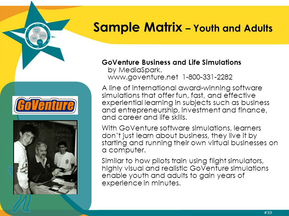 #33 Sample Matrix – Youth and Adults GoVenture Business and Life Simulations by MediaSpark.