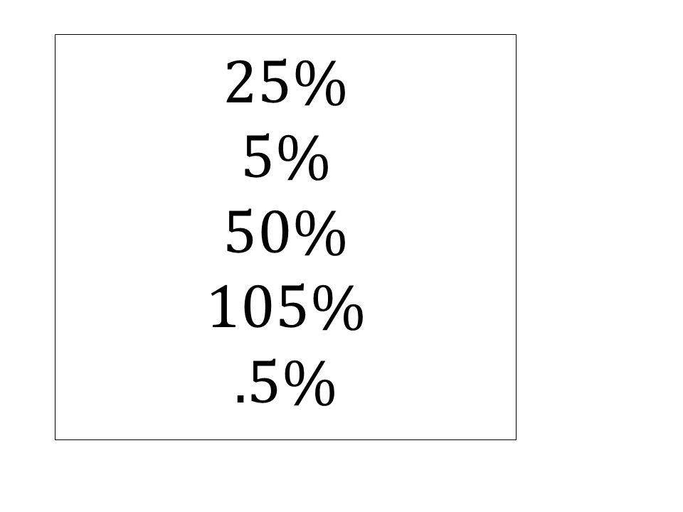 25% 5% 50% 105%.5%