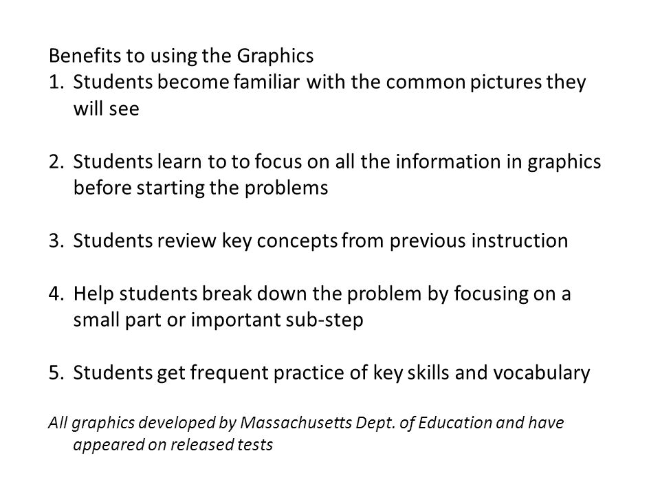 Benefits to using the Graphics 1.Students become familiar with the common pictures they will see 2.Students learn to to focus on all the information in graphics before starting the problems 3.Students review key concepts from previous instruction 4.Help students break down the problem by focusing on a small part or important sub-step 5.Students get frequent practice of key skills and vocabulary All graphics developed by Massachusetts Dept.