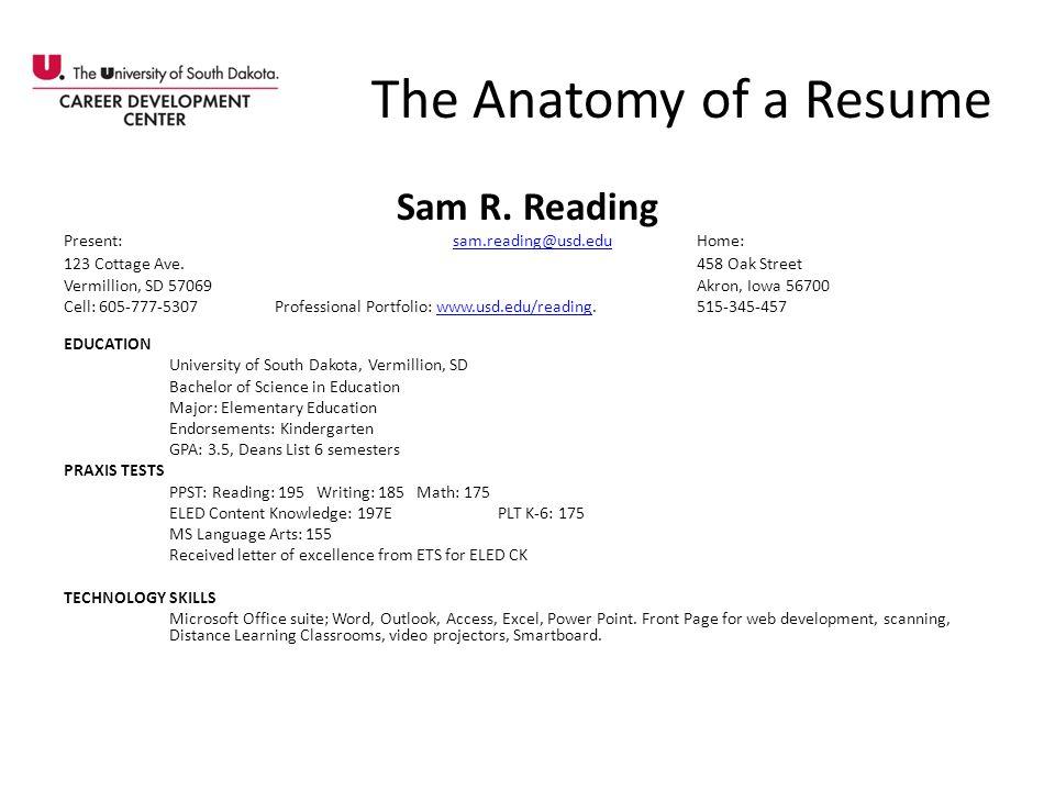 The Anatomy of a Resume Sam R. Reading Present: sam.reading@usd.eduHome:sam.reading@usd.edu 123 Cottage Ave. 458 Oak Street Vermillion, SD 57069Akron,