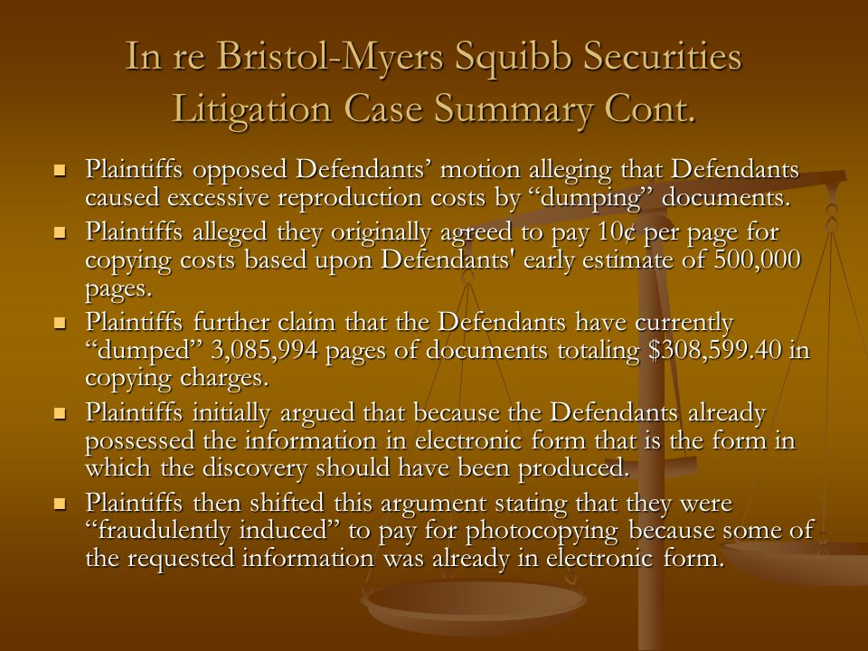 In re Bristol-Myers Squibb Securities Litigation Case Summary Cont.